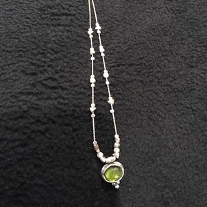 Silpada short sterling necklace with a green stone